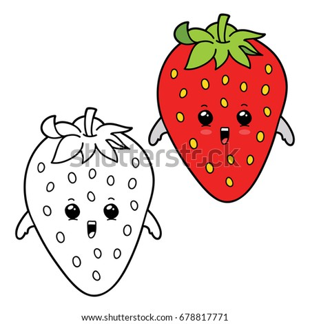 Vector Illustration Coloring Page Cartoon Strawberry Stock Photo ...