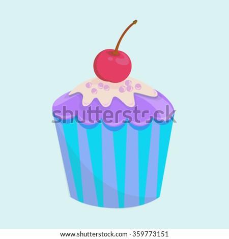 vector illustration colourful cake cupcake sweet creamy cherry bakery icon - stock vector