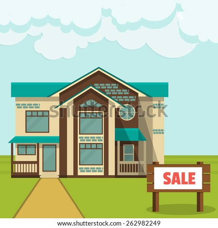 Vector illustration, concept - cottage for sale Flat style. - stock vector