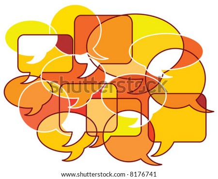 Vector illustration Concept for Communication using patterns of speech bubbles - stock vector