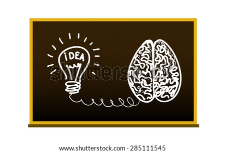 Vector illustration.Concept idea. Brain and lamp is connected. Drawing on the blackboard - stock vector