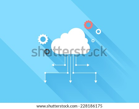 Vector illustration concept of cloud computing isolated on blue background with long shadow. - stock vector