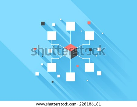 Vector illustration concept of computer network isolated on blue background with long shadow. - stock vector