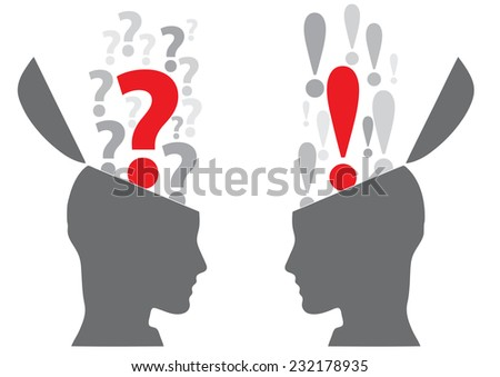 Vector illustration Concept of doubt and certainty - stock vector