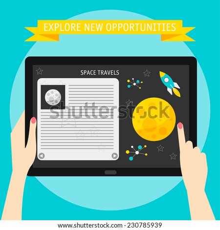 Vector illustration concept of hands holding modern digital tablet and pointing on a screen with cosmic website. Flat design style, isolated on bright stylish color background with slogan - stock vector