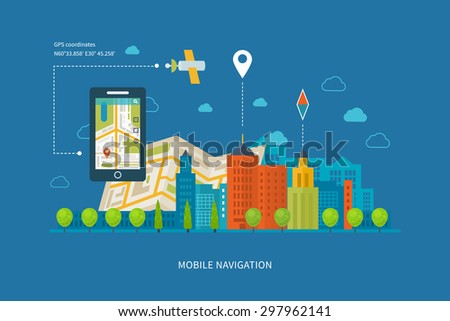Vector illustration concept of  holding smart-phone with mobile navigation. Flat design modern vector illustration icons set of urban landscape and city life. Building icon. - stock vector