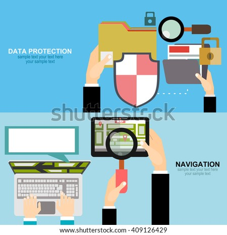 Vector illustration concept of holding tablet with mobile navigation. Memory and information transfer. Security and protection.  - stock vector