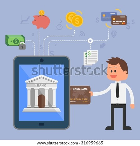 Vector illustration concept of internet banking. Flat style design. Icons for online payments, mobile payments, credit cards, wire transfers and bank money savings. - stock vector