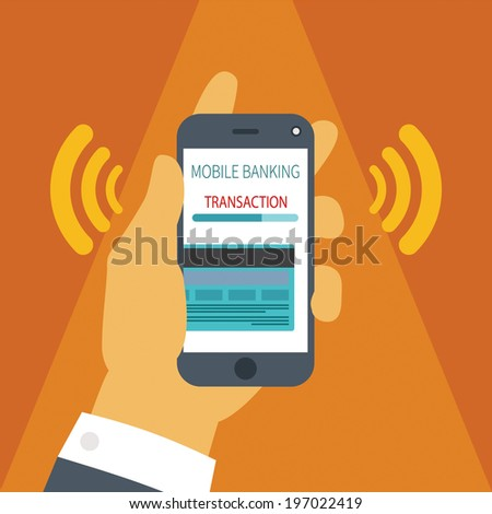 Vector illustration concept of mobile payment application from credit bank card on smartphone screen in man hand. - stock vector