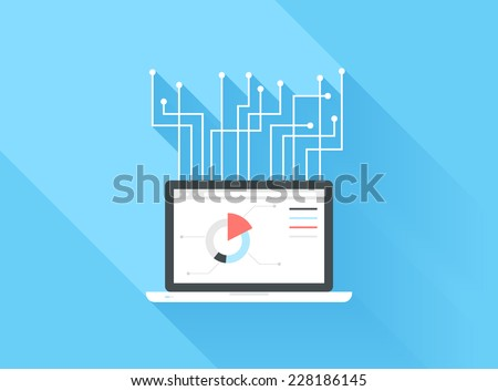 Vector illustration concept of search ending optimization and expanding isolated on blue background with long shadow. - stock vector