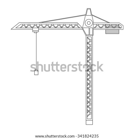 Vector illustration construction crane tower outline drawings. Crane flat icon. Tall heavy iron frame crane - stock vector