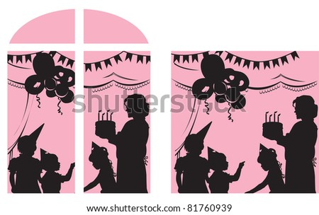 vector illustration contains a vector illustration of a happy family at home - stock vector