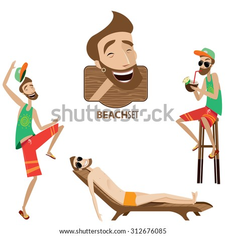 Vector illustration contains beach man in three versions - stock vector