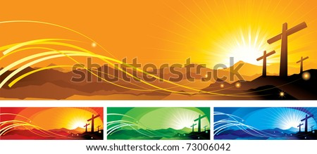 vector illustration contains the image of a banner with crosses - stock vector