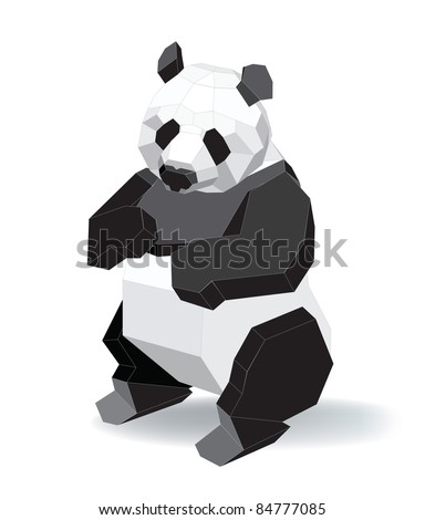 vector illustration contains the image of a panda - stock vector