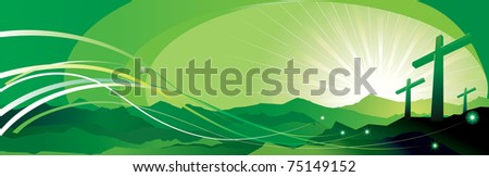 vector illustration contains the image of Banner with an easter cross - stock vector