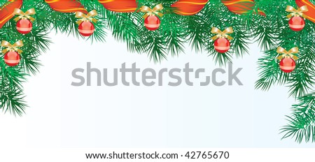 Vector illustration contains the image of  Christmas frame with red sphere - stock vector