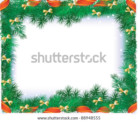 vector illustration contains the image of Christmas frame with the branches of Christmas tree and red ribbon - stock vector