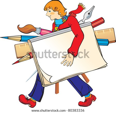 vector illustration contains the image of young artist with his art tools - stock vector