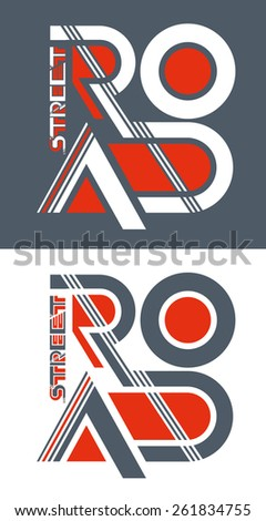 vector illustration cool street road, vector template for design t-shirts, graphics - stock vector