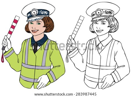 Vector illustration, cop, coloring drawing, cartoon concept, white background.