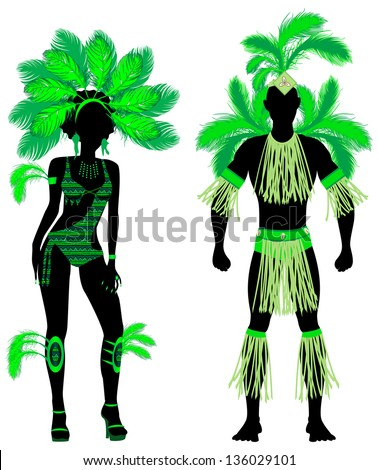 Vector Illustration Couple for Carnival Green Costume Silhouettes with a man and a woman. - stock vector
