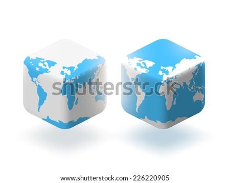 Vector illustration. Cube style globe world map. - stock vector