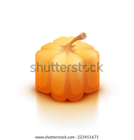 Vector illustration. Cube style pumpkin isolated on white background. - stock vector