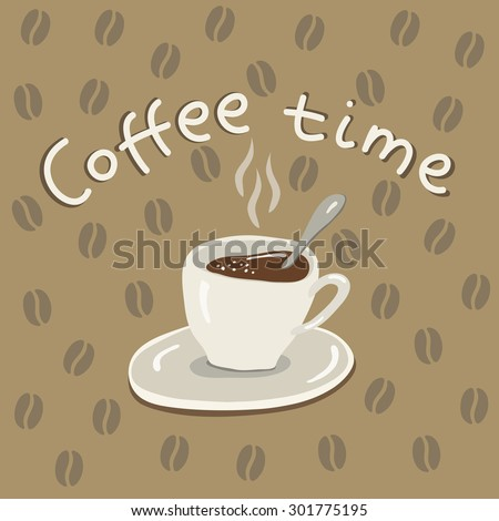 vector illustration cup of coffee on light brown background with coffee beans - stock vector