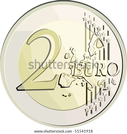 vector illustration currency 2 euro coin. without gradient, mesh and blend. - stock vector