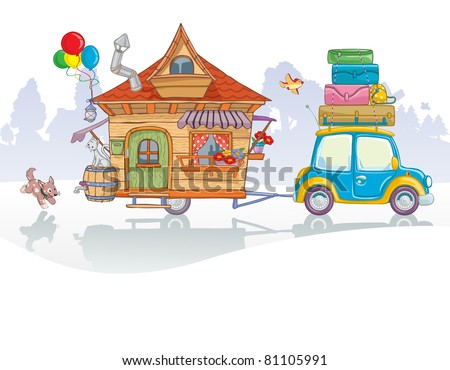 Vector illustration, cute car with caravan going in vacation, card concept.