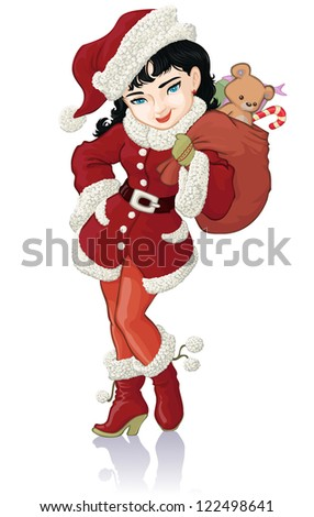 Vector illustration, cute Christmas girl, card concept, white background.
