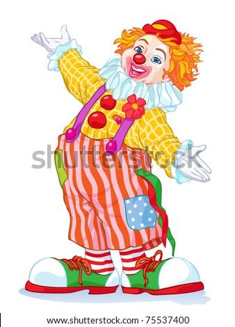 Vector illustration, cute clown, cartoon concept, white background. - stock vector