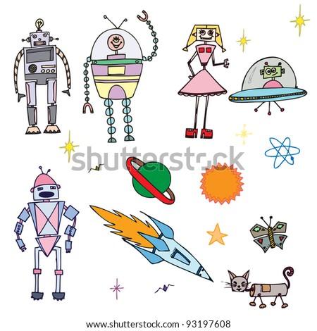 Vector illustration, cute decorative robots, card concept. - stock vector