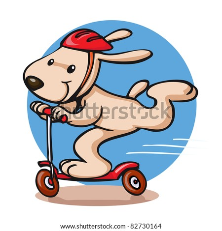 Vector illustration, cute dog on scooter, card concept. - stock vector