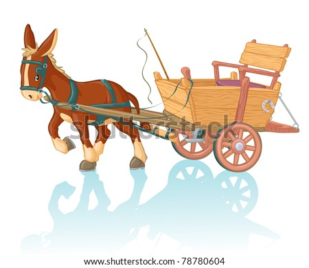 Vector illustration, cute donkey cart, cartoon concept, white background. - stock vector