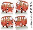 Vector illustration, cute funny animated cars, cartoon concept, white background. - stock vector