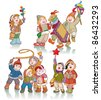Vector illustration, cute kids celebrating winter, cartoon concept, white background. - stock photo