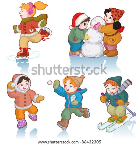 Vector illustration, cute kids enjoying winter, cartoon concept, white background. - stock vector