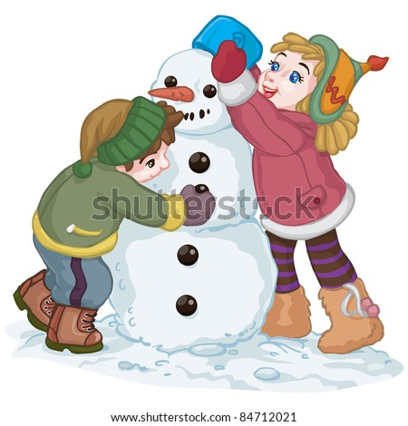 Vector illustration, cute kids making a snowman, cartoon concept, white background. - stock vector