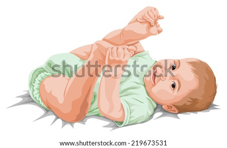 Vector illustration cute little baby boy playing with his feet. - stock vector