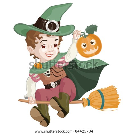 Vector illustration, cute little witch, cartoon concept, white background.