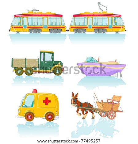 Vector illustration, cute means of conveyance, cartoon concept, white background. - stock vector