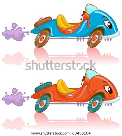 Vector illustration, cute race car, card concept. - stock vector