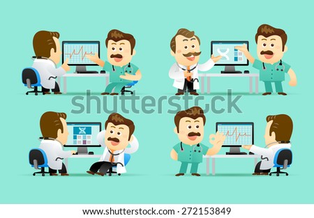 Vector illustration Cute Senior Doctor Character - stock vector