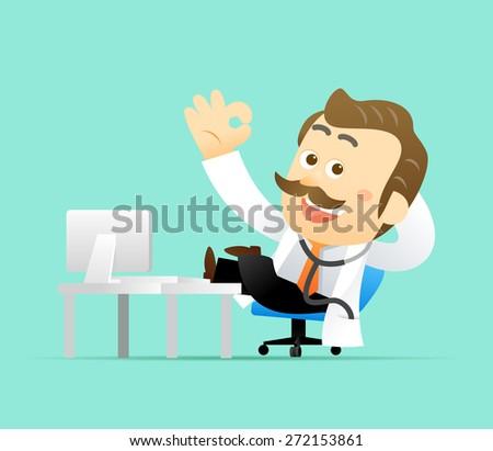 Vector illustration Cute Senior Doctor Character - stock vector