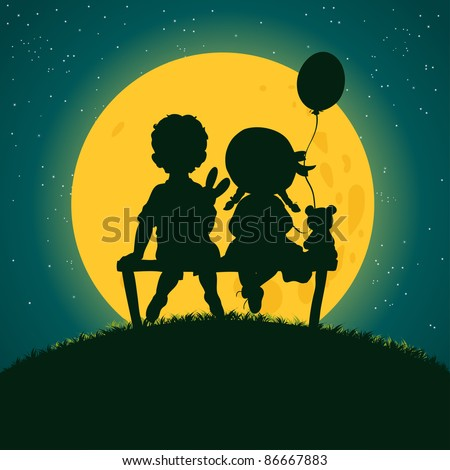 Vector illustration, cute silhouette of kids sitting on bench, cartoon concept. - stock vector