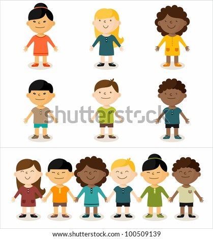 Vector illustration - cute smiling multicultural children. All elements can easily be changed to fit your layout. - stock vector
