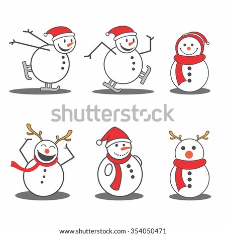 Vector Illustration Cute Snowman in Winter with various activities - stock vector