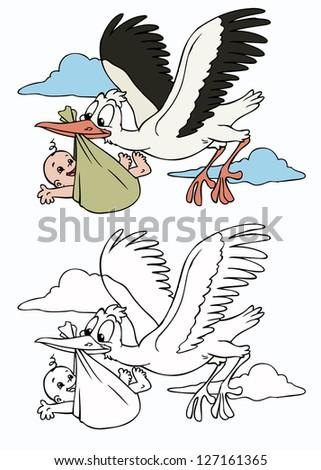 Vector illustration, cute stork with baby, cartoon concept. - stock vector